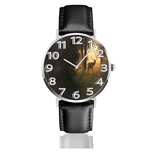 Reloj de Pulsera Deer-in-The-Forest-at-Sunset Durable PU Correa de Cuero Relojes de Negocios de Cuarzo Reloj de Pulsera Informal Unisex