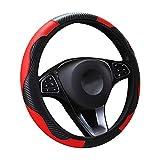 Panthem - Coprivolante per auto, in pelle traspirante, antiscivolo, in fibra di carbonio, per sport, senza anello interno, taglia universale 37-39 cm, colore: rosso