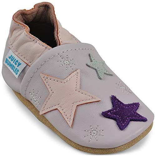 Juicy Bumbles - Weicher Leder Lauflernschuhe Krabbelschuhe Babyhausschuhe mit Wildledersohlen. Junge Mädchen Kleinkind- Gr. 6-12 Monate (Größe 20/21)- Sterne