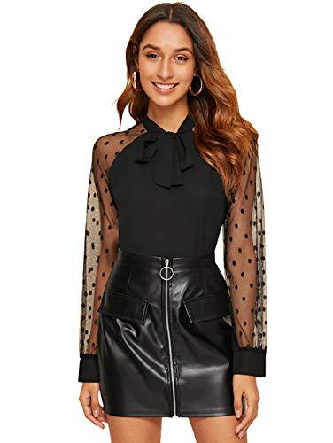 SOLY HUX Femme Blouse en Tulle À Pois Et Nœud Top avec Manches Longues Transparentes Chemisier Elégant Tee Shirt Tunique Noir-L