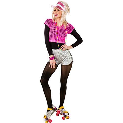 NET TOYS Auffällige Hot Pants für Frauen | Silber in Größe S/M (36 - 42) | Glitzernde Damen-Panties Metallic | Wie geschaffen für 80er-Party & Fasching