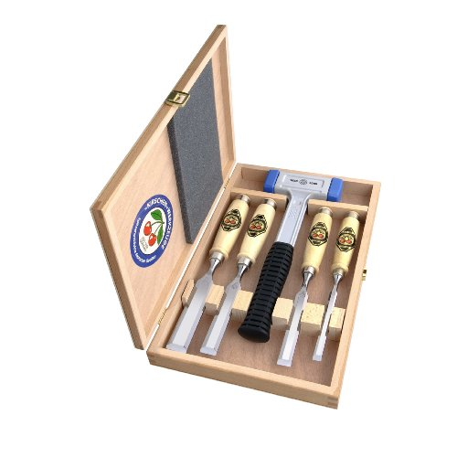 Kirschen 1858 Jubiläums-Stechbeitelsatz mit patentiertem rückschlagfreien Schonhammer, 5-teilig im Holzkasten