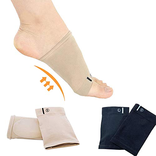 Complexion & Black(2 Pair) -Compression Arch Support Sleeves,Cushioned Soft Elastic Reusable Gel Pad Fabric Socks for Flat Foot Pain Relief Plantar Fasciitis Heel Spurs