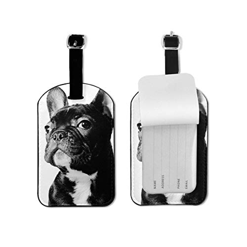 Black French Bulldog White Leather Cruise Luggage Bag Tags Travel Suitcases Tags Resealable Bag Tags With Adjustable Wrist Strap Baggage Name Tags,3D Print Suitcase Labels Privacy Tag