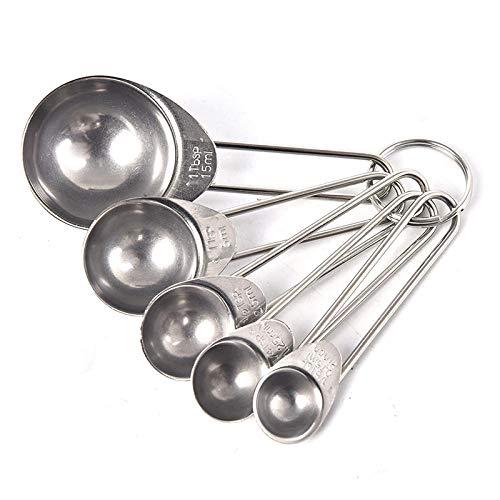 5 uds taza medidora de acero inoxidable balanza de cocina cucharas medidoras cuchara para hornear cucharaditas de cocina juego de herramientas de azúcar y café