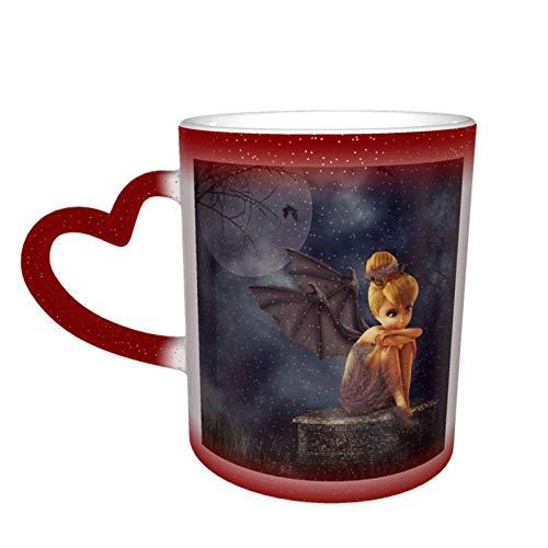2 tazas de café grande, diseño de campanilla y hadas que cambian de color, taza de té para mujeres, hombres, niños, niñas, rojo