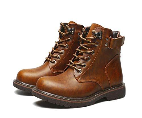 Herrenmode Hohe Schuhe, Lederstiefel Winter Casual Britische Stiefel, Wanderschuhe wasserdichte Arbeitsstiefel rutschfeste Stiefeletten Ankle Boots,Braun,43