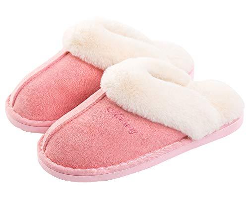 Kemosen Damen Hausschuhe Herren Pantoffeln Winter Warme Weiche Slippers Plüsch Flauschige Flache Schuhe,Rosa,40/41 EU