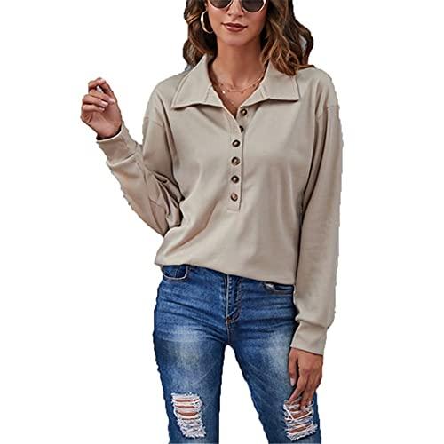 LYAZFC Mujer Otoño/Invierno Color sólido Cuello Alto Botón Tejido Rib Camiseta de Manga Larga