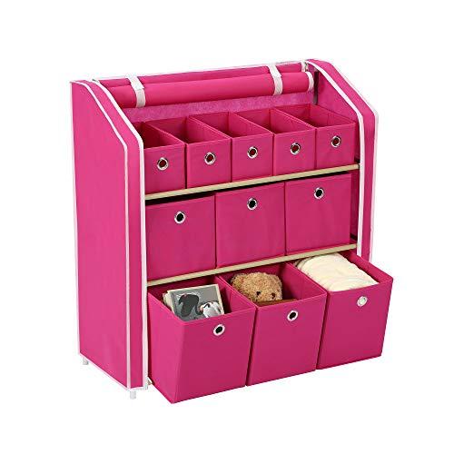Homebi Multi-Bin Storage Shelf 11 Drawers Storage Chest Linen Organizer Closet Cabinet with Zipper Covered Foldable Fabric Bins and Sturdy Metal Shelf Frame,31