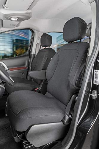 Walser 10535 Autoschonbezug Transporter Passform, Polyester Sitzbezug anthrazit kompatibel mit Citroen Berlingo, 2 Einzelsitze vorne