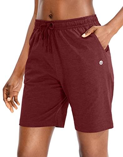 G Gradual Women's Bermuda Shorts Jersey Shorts with Deep Pockets 7' Long Shorts for Women Lounge Walking Athletic (Dark Red, X-Large)