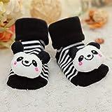 Calcetines para bebés Piso Antideslizante Algodón Calcetines de muñeca de Dibujos Animados con Campanas Bebé Niñas NiñosBotasSuaves yBonitas-Black panda-5-9M