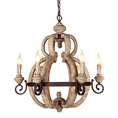 Kronleuchter im Retro-Landhaus-Stil mit Kerze, Holzlampe, Balkon-, Treppenhäuser, Bauernhaus-Beleuchtung, kreative dekorative Deckenleuchte