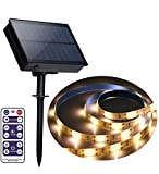 Outdoor Solar LED Strip Lights, Upgraded Brightness 16.4 FT Cuttable Rope Lights -8 Modes 5 Meters 300LED,Solar Powered Flexible Waterproof String Lights Warm White for Garden/Home/Patio/Courtyard