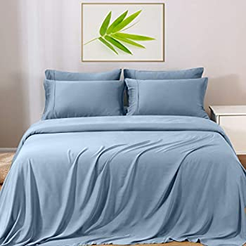 GOKOTTA Bamboo Sheets Full Size - Cooling Sheets 100% Bamboo Rayon Ultra Soft & Silky Touch Breathable & Comfortable Luxury Bed Sheets Set 4 Piece 16  Deep Pocket Stone Blue