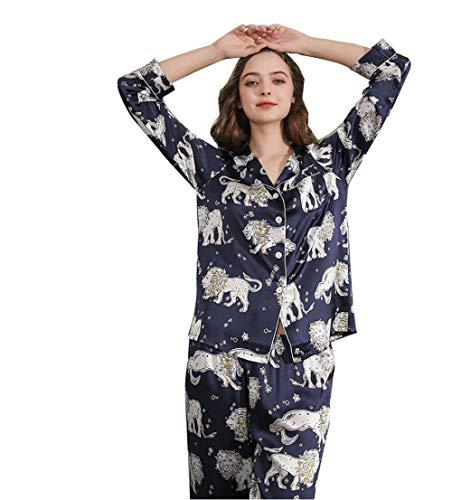 Mandaartins Women's Printed Pajamas Set Button Down 100 Pure Mulberry Silk Two Piece Down Notch Collar Sleepwear Nightwear Soft Pj Lounge Sets-blue_XL