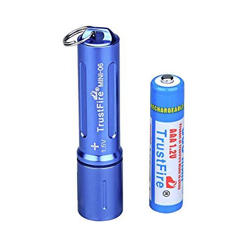 TrustFire MINI-06 - Linterna LED (90 lúmenes, con Llavero y batería AAA Recargable), Color Negro, Azul, Verde, Rojo y Dorado, Azul