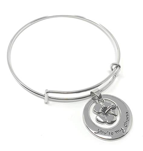Zilveren-Toon 'Je Bent Mijn Ohana' Gegraveerde Hanger Armband 6.5cm Diameter Lilo En Stitch