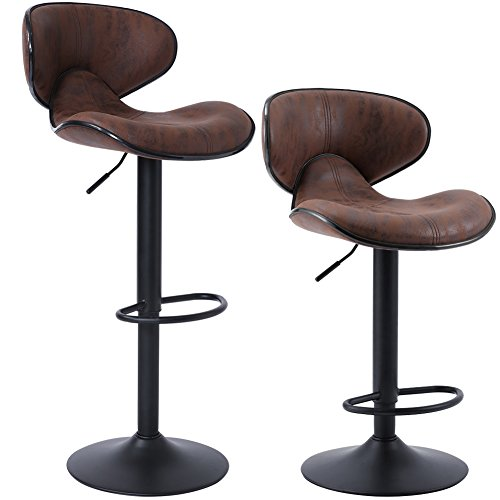 Superjare Set of 2 Adjustable Bar Stools Swivel Barstool Chairs with Back Pub Kitchen Counter Height Retro Brown