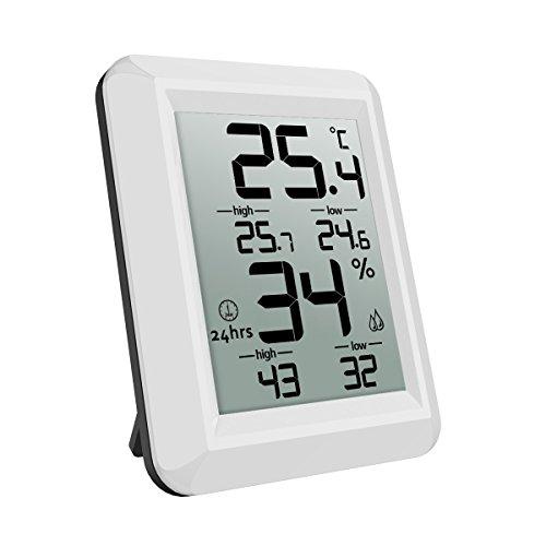 ORIA Innen Thermo Hygrometer, Digital Thermometer Indoor Temperatur und Luftfeuchtigkeit Monitor mit High/Low Records, LCD Anzeigen und ℃/℉ Schalter, für Wohnzimmer, Schlafzimmer, Küche und Büro, etc
