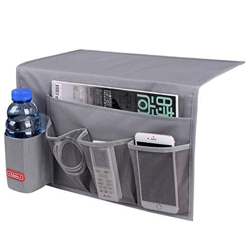 Falaku Bedside Caddy,5 Pockets Bedside Organizer Caddy Under Mattress,Holds Water Bottles,Magazines,Books (Dark Grey)