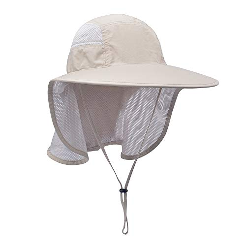 Lenikis Unisex Outdoor Activities UV Protecting Sun Hats with Neck Flap Khaki
