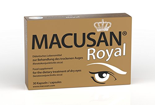 Macusan Royal – Augen Kapseln gegen trockene Augen und Senken das altersbedingte Makuladegeneration (AMD) Risiko   Omega-3, Lutein und Zeaxanthin 30 Kapseln