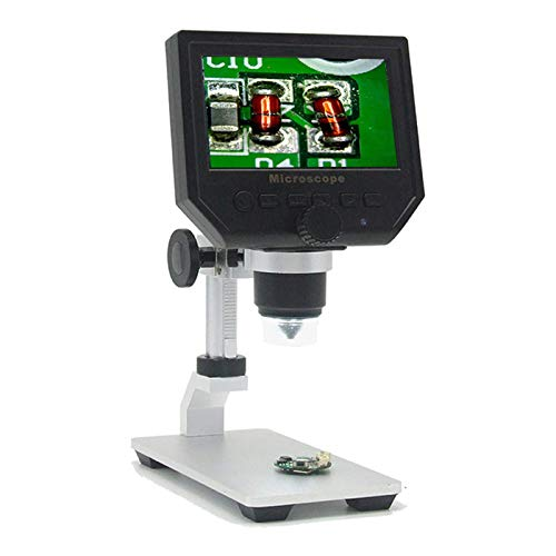 eoqo 4.3' Portable Digital Microscope HD LCD Display with Metal Bracket Video Camera 3.6MP CCD 1-600X Continuous Magnifier Magnification