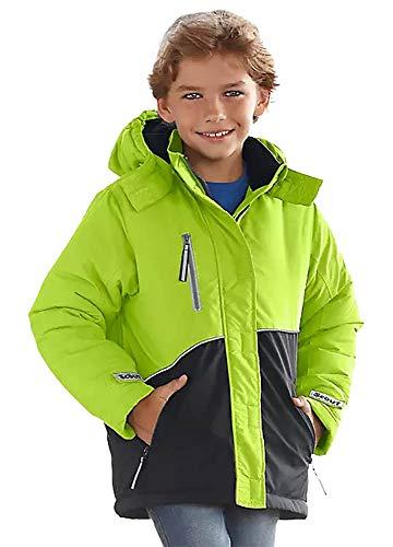 Bekleidung Scout Jungen Schneejacke Winterjacke Jacke mit Kapuze gefüttert (92-98, Lime / Schwarz)