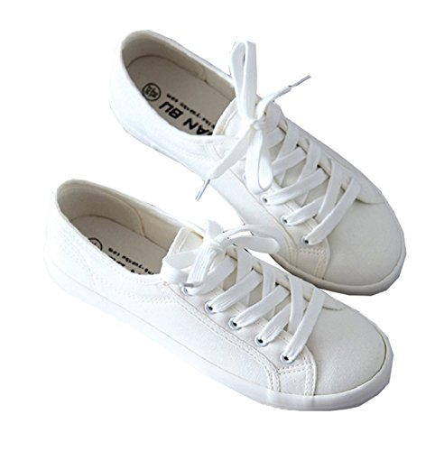 Classic Women Flats Solid White Sneakers Casual Shoes Ladies Canvas Shoes Female Flat Trainers Fashion Basket Femme Tenis White 7.5