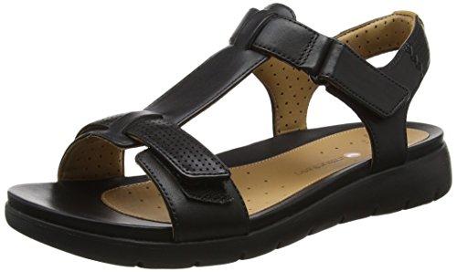 Clarks 261250864, Sandalias Mujer, Negro (Black Leather), 37.5 EU
