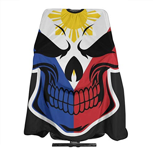 Filipino Flag Skull Professional Hair Salon Apron,Polyester Hair Shawl 55' X 66',Suitable For Barber Shop Or Home