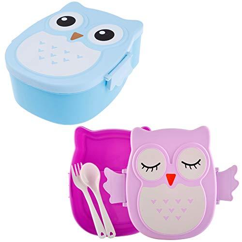 BESLIME Fiambrera Niños Cartoon - Fiambreras,plástica Almuerzo Caja,Lunch Box Set + Tenedor y Cuchara,Forma de búho,800ML, Púrpura y Azul,2pcs