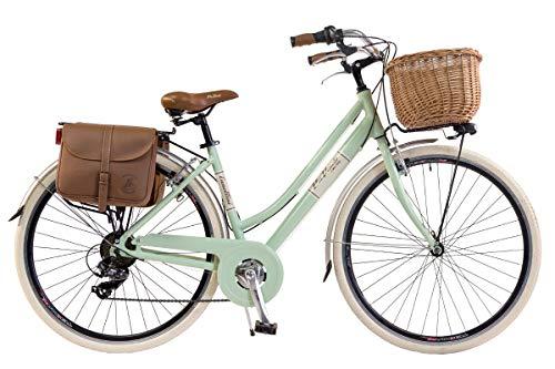 Via Veneto by Canellini Bicicleta Bici Citybike CTB Mujer Vintage Retro Via Veneto Aluminio con Cesto y Campanilla Timbre Bell Via Veneto (50, Verde Claro)