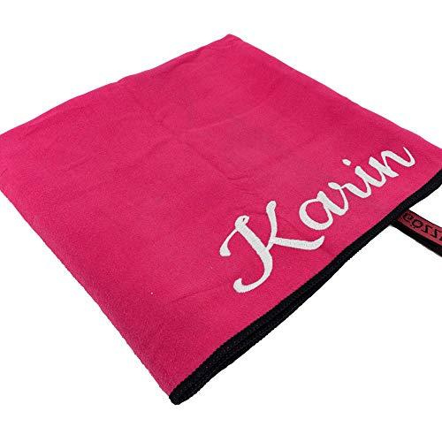 Mikrofaser-Handtuch mit Name oder Wunschtext, Sport-Handtuch mit Bestickung - ideal als Badehandtuch, Reisehandtuch & Strandtuch, kompakt, leicht & schnelltrocknend, 70 x 140 cm pink