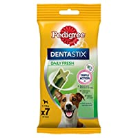Triple action with Pedigree Dentastix Fresh: reduces tartar build-up by up to 80 percent, cleans hard to reach teeth, supports healthy gums and freshens breath Designed for your large four-legged friend, packed with dog-friendly ingredients and a bet...