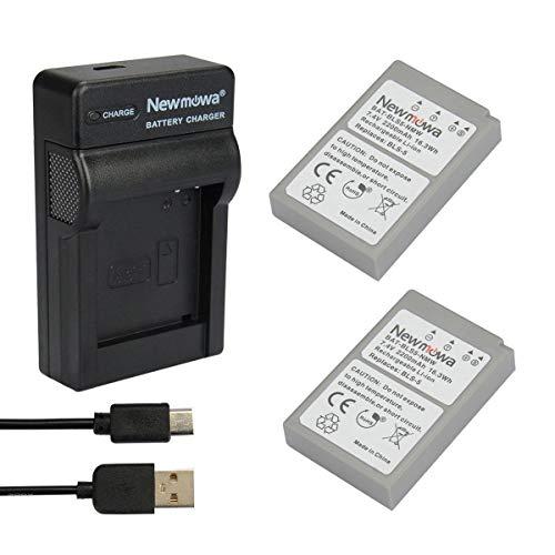 Newmowa BLS-5 Batería (2-Pack) y Kit Cargador Micro USB portátil para Olympus BLS-5, BLS-50, PS-BLS5,Olympus OM-D E-M10,Pen E-PL2,E-PL3,E-PL5,E-PL6,E-PL7,E-PL8,E-PM2