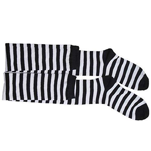 Eleusine Overknee Oberschenkelsocken Hohe Oberschenkelstrümpfe Damen Stripe Socke für Cosplay (Schwarz-Weiß-Streifen)