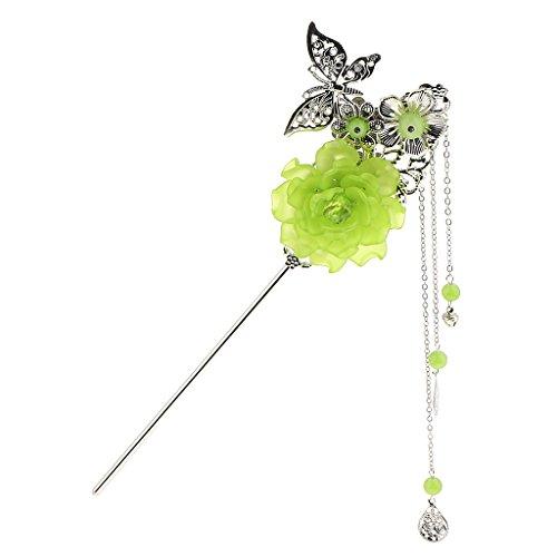 Prettyia Encantos De Mariposa De Aleación Palo Kanzashi Borla Moño para Kimono Hanfu Pin - Verde