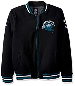 Ultra Game NFL Philadelphia Eagles Mens Full Zip Fleece Vintage Letterman Varsity Jacket, Team Color, Medium