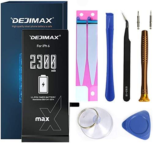 DEJIMAX 2300mAh Batteria più alto 27% per iPhone 6 (A1549/A1586/A1589), Alta Capacità 2300mAh Batteria Manuale Kit Set di Attrezzi