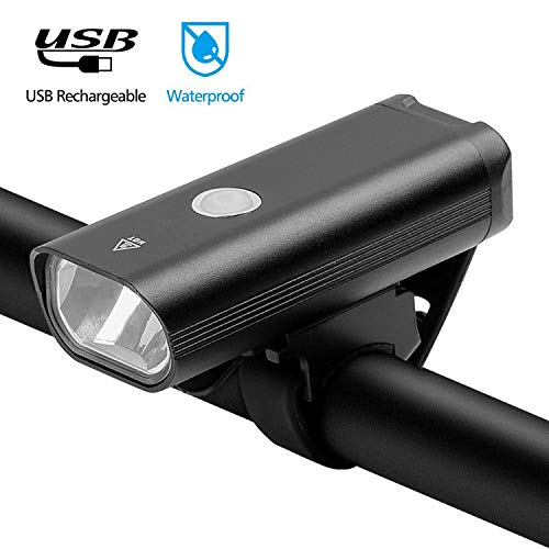 Renbin Luz Bicicleta, Luces De Bicicleta USB 400 Lúmenes Súper Brillantes Luces De Bicicleta LED De 3 Modos Faros Impermeables IPX5 para Todas Las Bicicletas,Black