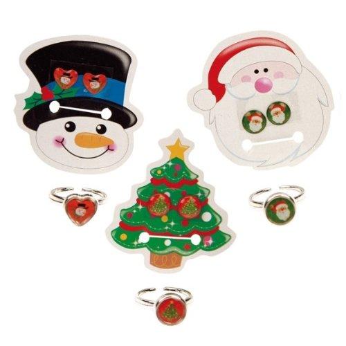 Nikolaus & Weihnachtsmann 1 Weihnachts-Schmuckset: Ring & Ohrringe zum Kleben, 3 Motive verfügbar