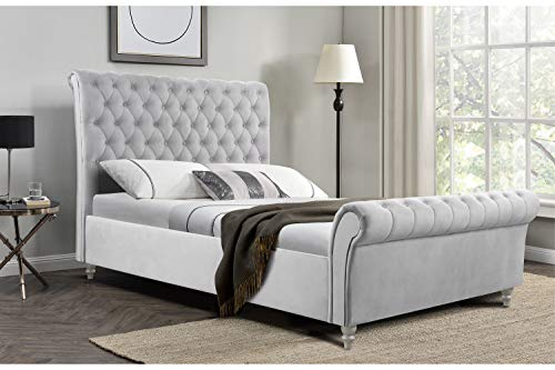 PS Global Vegas Frame Bed, Chesterfield, Deep Button, Velvet, Fabric Bed (Light Grey, 5' King Size)
