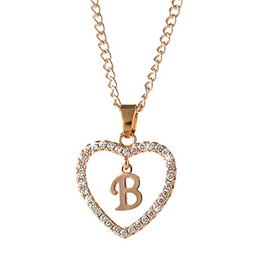 Letter Necklace 26 Letter Zircon Heart Necklace Jewelry Love Necklace Valentine's Day Fashion Women's Lady Idea Beauty Charm Chain Necklace Hot Jewelry for Lover Wife Girlfriend