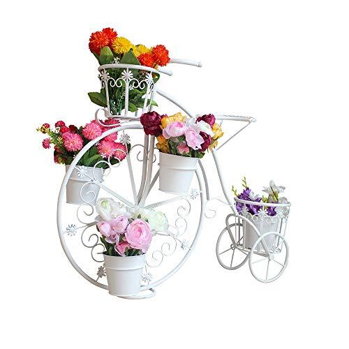 Soporte de la Planta de Metal, Titular de la Planta plantador de Bicicletas Jardín Jardín Decoración Tiesto Estilo de época para el hogar jardín Patio,Blanco