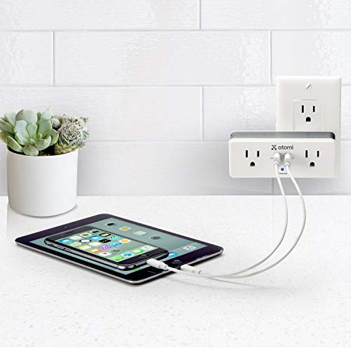 Atomi Rotating Mini Surge Protector 2-Port USB/2 Wall Outlet Charger, White