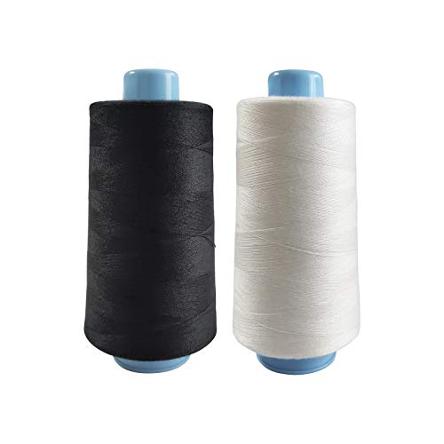 2 Spools Polyester Sewing Thread Spools, 2 Colors White and Black, 3000 Yards Each Spool, 40/2 All-Purpose Connecting Threads for Sewing Machine and Hand Repair Works for Hand & Machine Sewing