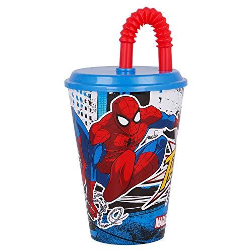 SPIDERMAN| Vaso Reutilizable con Tapa y Pajita para niños| Vaso infantil de plástico - 430 ml- sin BPA